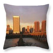 The Richmond, Virginia Skyline Throw Pillow by Medford Taylor