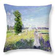 The Walk Throw Pillow by Claude Monet