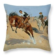 Turn Him Loose Throw Pillow by Frederic Remington
