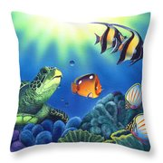 Turtle Dreams Throw Pillow by Angie Hamlin