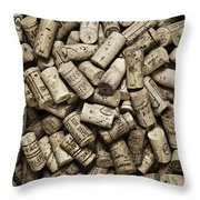 Vintage Wine Corks Throw Pillow by Frank Tschakert