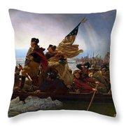 Washington Crossing The Delaware Throw Pillow by Emanuel Leutze