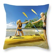 Women Kayakers Throw Pillow by Kicka Witte - Printscapes