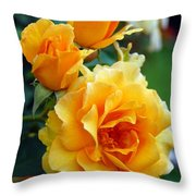 Yellow Roses Throw Pillow by Amy Fose