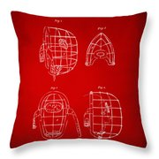 1878 Baseball Catchers Mask Patent - Red Throw Pillow by Nikki Marie Smith