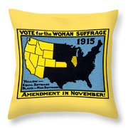 1915 Vote For Women's Suffrage Throw Pillow by Historic Image