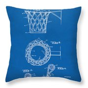 1951 Basketball Net Patent Artwork - Blueprint Throw Pillow by Nikki Marie Smith