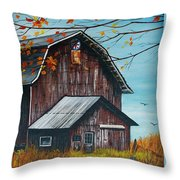 1980 Barn Throw Pillow by Linda Simon