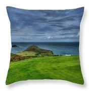 1st Green Cape Cornwall Golf Club Throw Pillow by Chris Thaxter