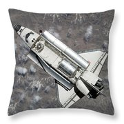 Aerial View Of Space Shuttle Discovery Throw Pillow by Stocktrek Images