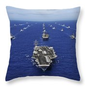 Aircraft Carrier Uss Ronald Reagan Throw Pillow by Stocktrek Images