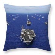 Aircraft Carrier Uss Ronald Reagan Throw Pillow by Stocktrek Images