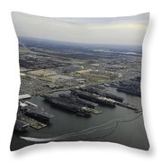 Aircraft Carriers In Port At Naval Throw Pillow by Stocktrek Images
