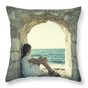 Girl At The Sea Throw Pillow by Joana Kruse