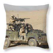 Gurkhas Patrol Afghanistan In A Land Throw Pillow by Andrew Chittock