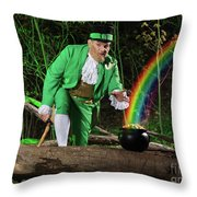 Leprechaun With Pot Of Gold Throw Pillow by Oleksiy Maksymenko