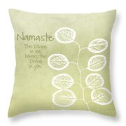 Namaste Throw Pillow by Linda Woods
