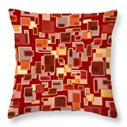 Red Abstract Rectangles Throw Pillow by Frank Tschakert