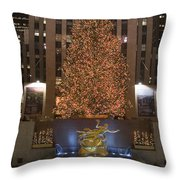 Rockefeller Center And The Famous Throw Pillow by Taylor S. Kennedy