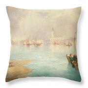 Venice Throw Pillow by Thomas Moran