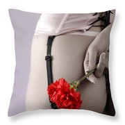 Woman With A Carnation Throw Pillow by Oleksiy Maksymenko
