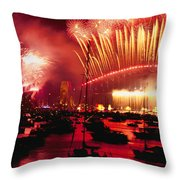 20 Tons Of Fireworks Explode Throw Pillow by Annie Griffiths