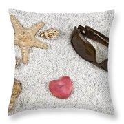 Seastar And Shells Throw Pillow by Joana Kruse