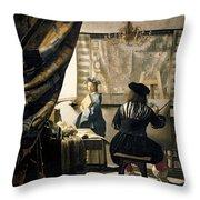 The Artist's Studio Throw Pillow by Jan Vermeer