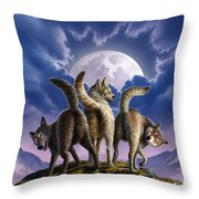 3 Wolves Mooning Throw Pillow by Jerry LoFaro
