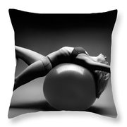 Woman On A Ball Throw Pillow by Oleksiy Maksymenko