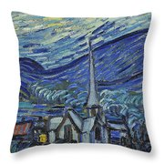 The Starry Night Throw Pillow by Vincent Van Gogh