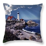 Portland Head Lighthouse Throw Pillow by Skip Willits