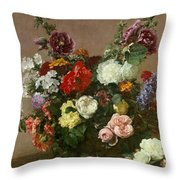 A Bouquet Of Mixed Flowers Throw Pillow by Ignace Henri Jean Fantin-Latour