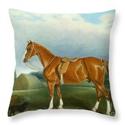 A Chestnut Hunter And A Spaniel By Farm Buildings  Throw Pillow by John E Ferneley