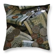 A Close View Of American Coin And Paper Throw Pillow by Joel Sartore