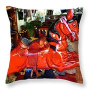 A Cowboy's Horse Throw Pillow by Mexicolors Art Photography