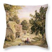 A Farmyard Near Princes Risborough Throw Pillow by Samuel Palmer
