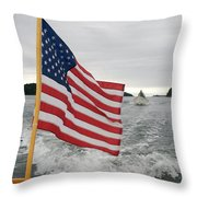 A Flag Waves On The Stern Of A Maine Throw Pillow by Heather Perry