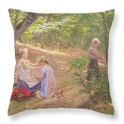 A Garland Of Flowers Throw Pillow by Frigyes Friedrich Miess