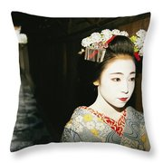 A Geisha In Traditional Costume Walks Throw Pillow by Paul Chesley