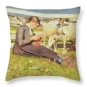A Girl Knitting Throw Pillow by Giovanni Segantini
