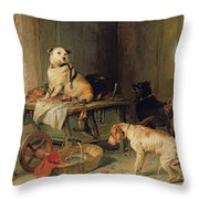 A Jack In Office Throw Pillow by Sir Edwin Landseer