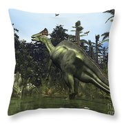 A Lambeosaurus Rears Onto Its Hind Legs Throw Pillow by Walter Myers