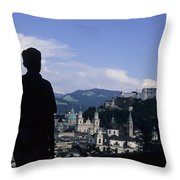 A Man Stands Admiring The Overlook Throw Pillow by Taylor S. Kennedy