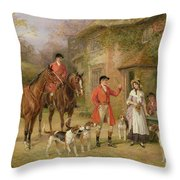 A Meeting At The Three Pigeons Throw Pillow by Heywood Hardy