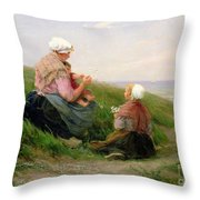 A Mother And Her Small Children Throw Pillow by Edith Hume