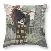 A Musician Throw Pillow by Eugene Grasset