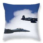 A Navy F-18 And A Wwii Vintage F4u Throw Pillow by Medford Taylor