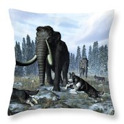 A Pack Of Dire Wolves Crosses Paths Throw Pillow by Walter Myers