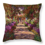 A Pathway in Monets Garden Giverny Throw Pillow by Claude Monet